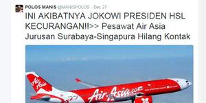 Hilangnya AirAsia QZ8501 Diklaim Karena Kesalahan Jokowi