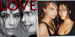 Foto Kim Kardashian-Cara Delevingne Seksi Basah-basahan di Majalah Love