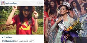 Heboh Puteri Indonesia 2015 Anindya Kusuma Putri Pakai Kaos 'Palu Arit'