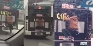 Ogah Bayar Ongkos, Pria Hemat 'Nebeng' di Bumper Bus
