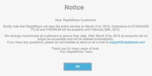 RapidShare Ditutup 31 Maret 2015
