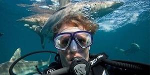 Keren, Pria Ini Selfie di Kerumunan Hiu Ganas!