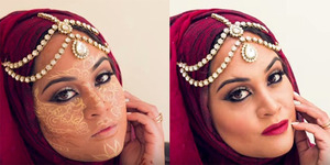 Shahina Aslam Merias Wajah Pakai Teknik Henna Contouring