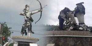 Patung Arjuna Ikon Purwakarta Dibakar, Pelakunya 'Dorna'