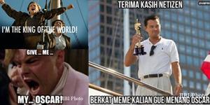 Meme Kocak Leonardo DiCaprio Menang Oscar