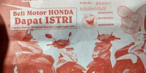 Waduh, Beli Motor Honda Bonusnya ISTRI