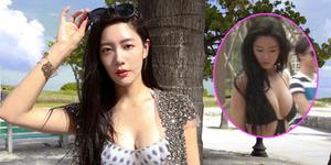 Foto Clara Pamer Belahan Dada Seksi Pakai Swimsuit di Macau
