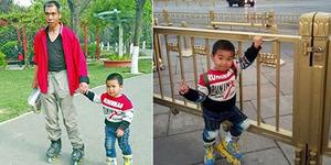 Waduh, Ayah di China Ajak Anaknya Bersepatu Roda 540 Km