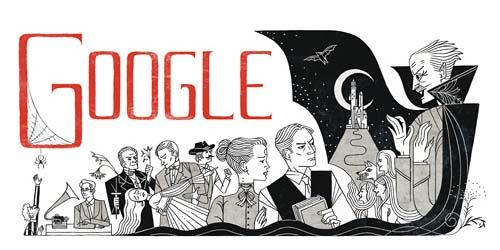 Google Doodle Tampilkan Bram Stoker Penulis Novel Horor Dracula